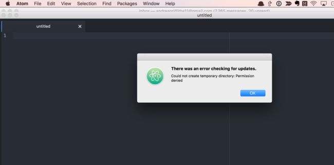 I am unable to update to the latest version of Atom on macOS  How do