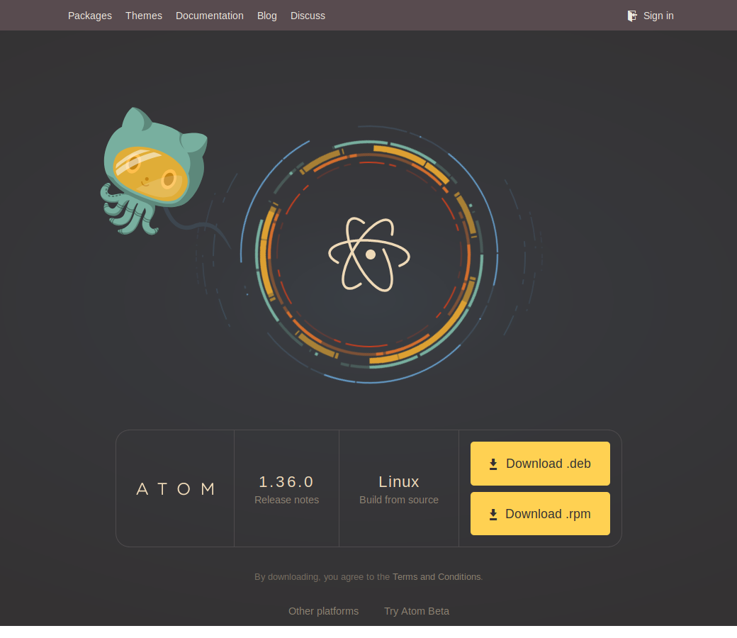 Installing Atom Download buttons on https://atom.io