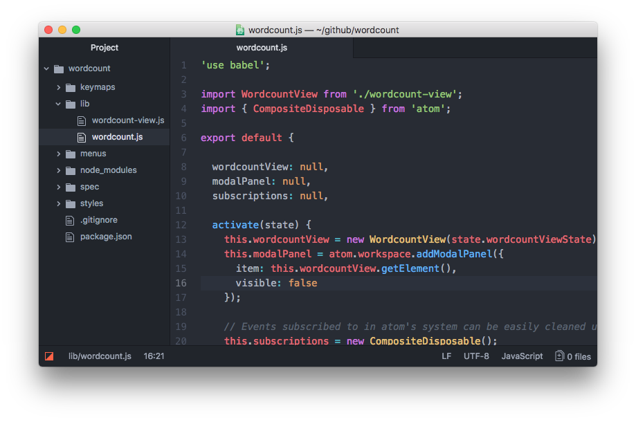 Basic generated Atom package