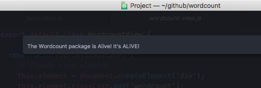 Wordcount Package is Alive Dialog